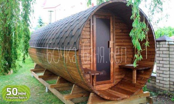 Баня-бочка, модель 6+ метра. У нас вы можете купить готовую баню бочку из бруса недорого в Минске. Доставим по Беларуси!