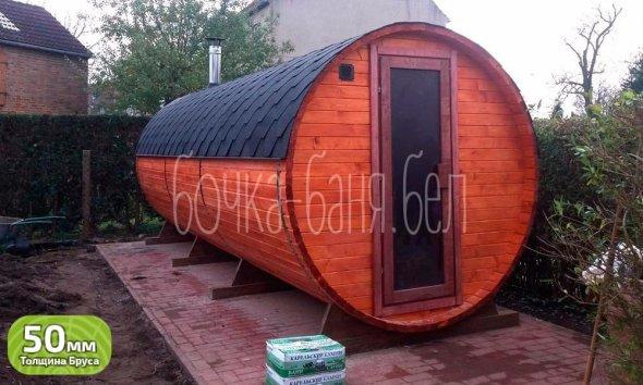 Баня-бочка, модель 6 метров. У нас вы можете купить готовую баню бочку из бруса недорого в Минске. Доставим по Беларуси!