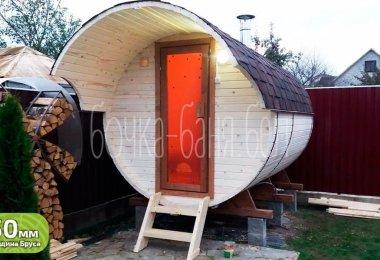 Баня-бочка, модель 3 метра. У нас вы можете купить готовую баню бочку из бруса недорого в Минске. Доставим по Беларуси!